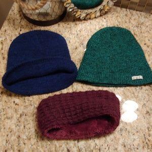Two beanies one warm headband bundle